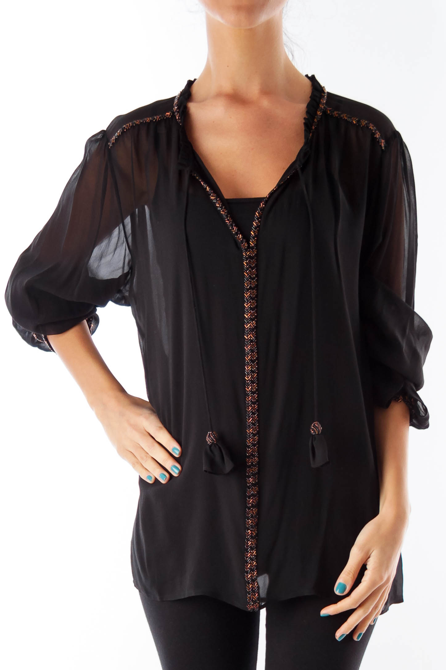 Black See-Through Embroidery Blouse