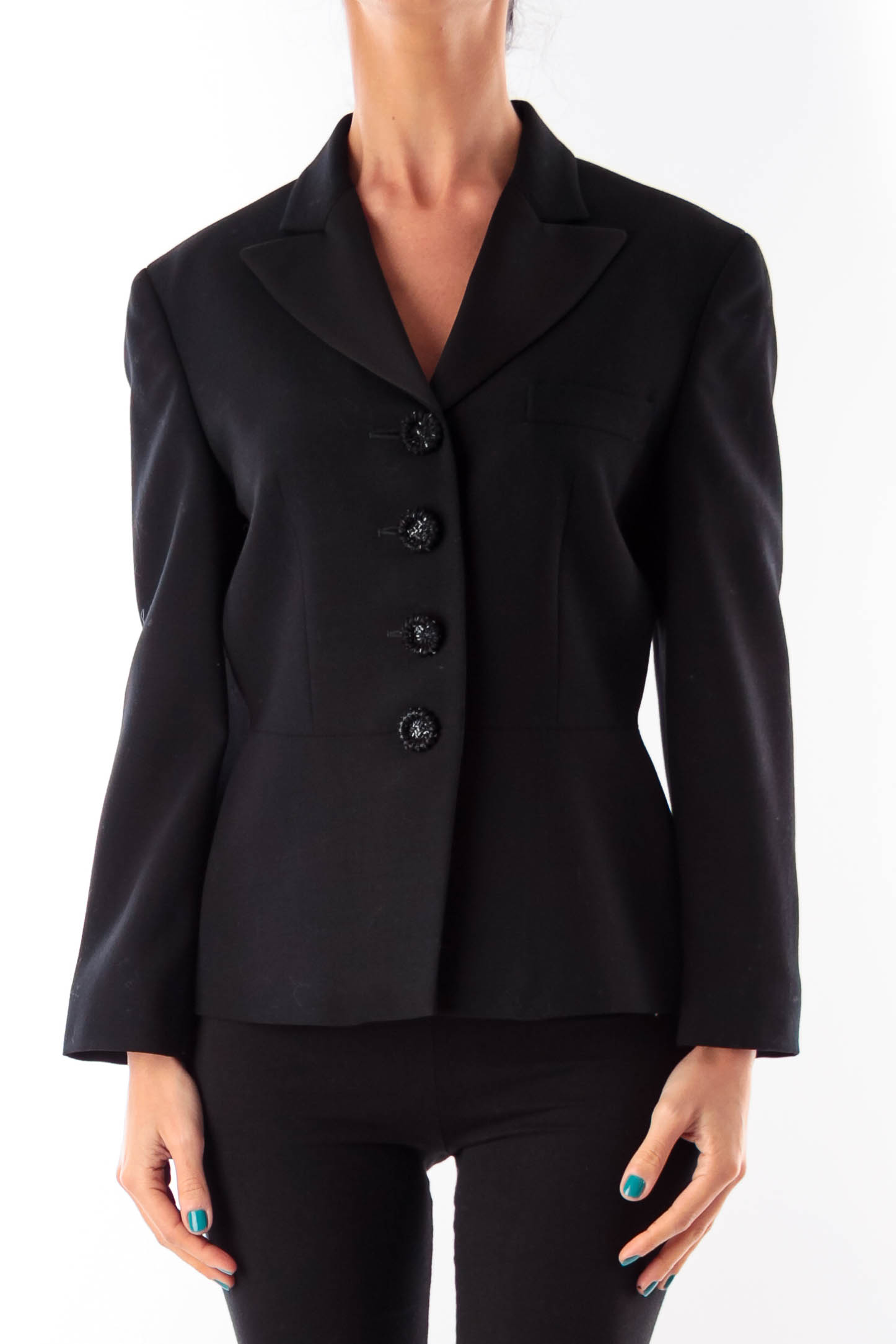 Black Embroider Button Blazer