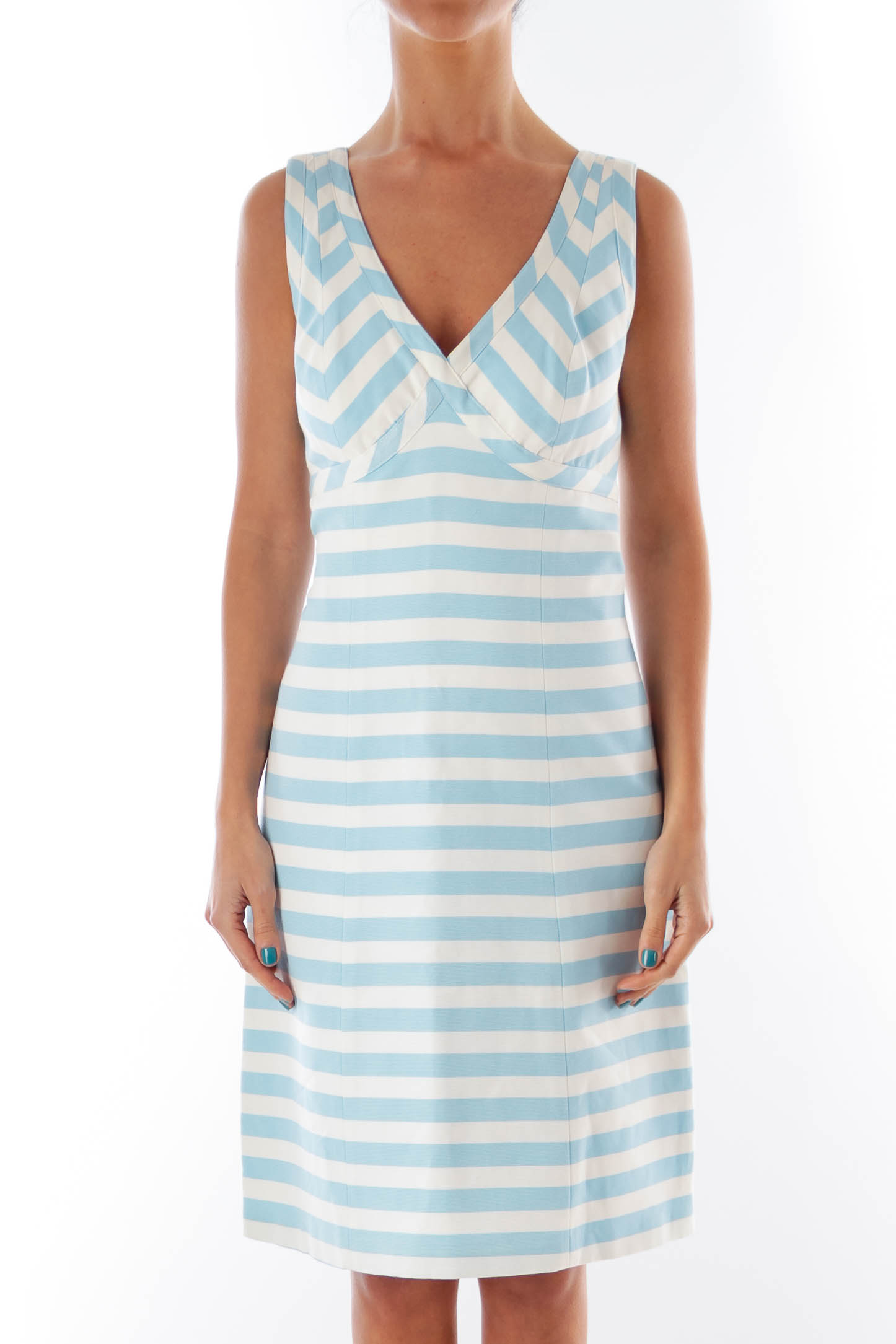 White & Blue Stripe Dress