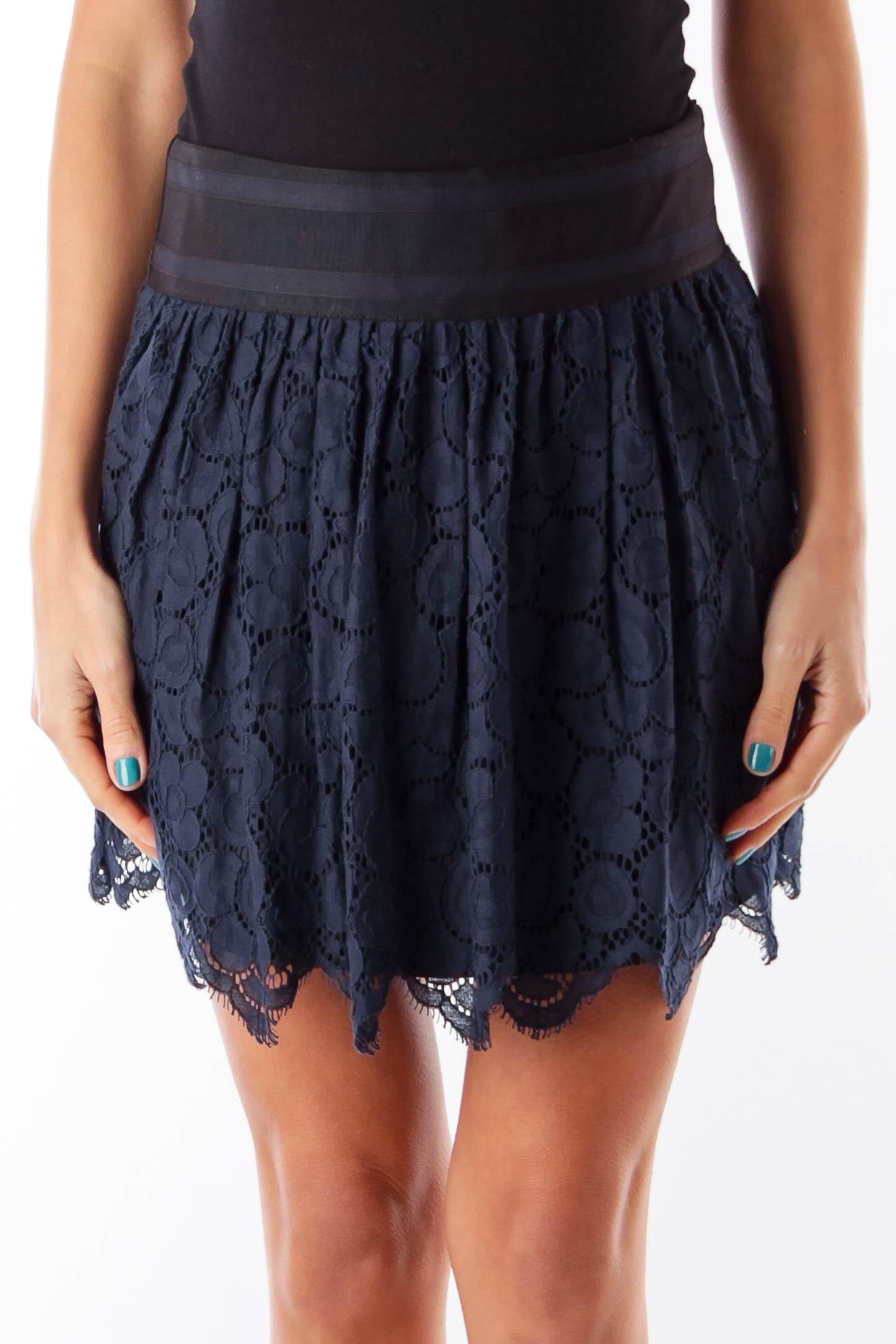 Navy &  Black Lace Mini Skirt