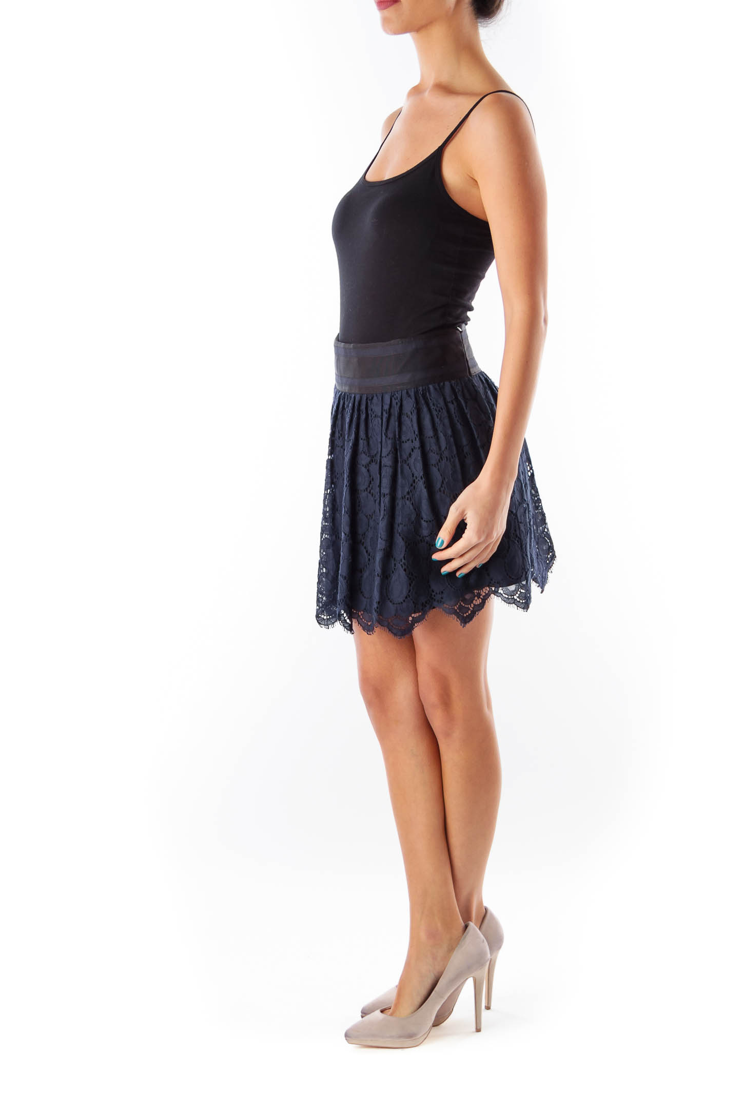 Navy &  Black Lace Mini Skirt