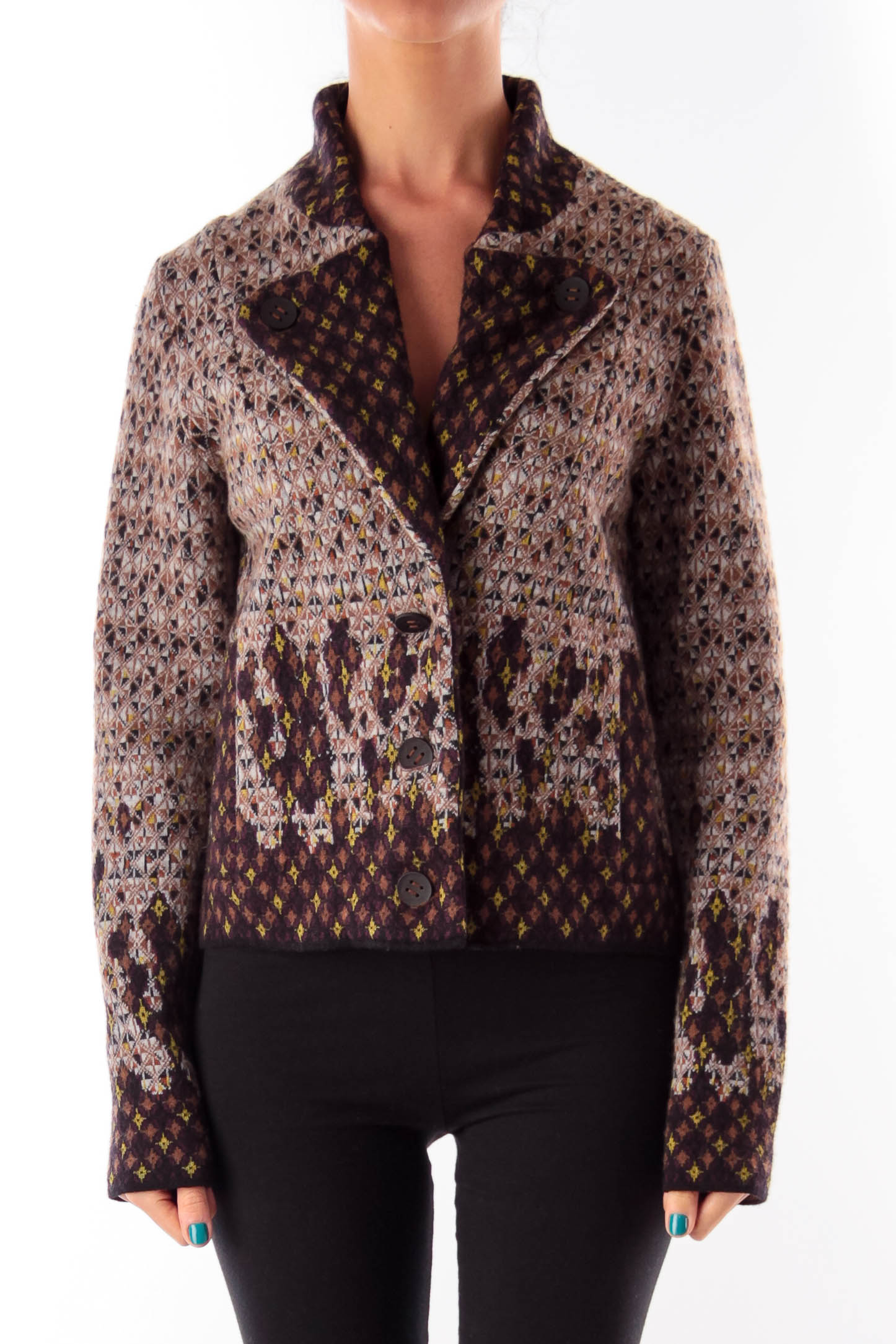 Color Print Wool Jacket