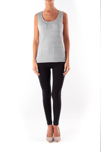 Silver Cable Knit Top