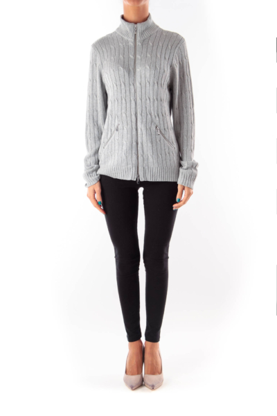 Silver Cable Knit Cardigan
