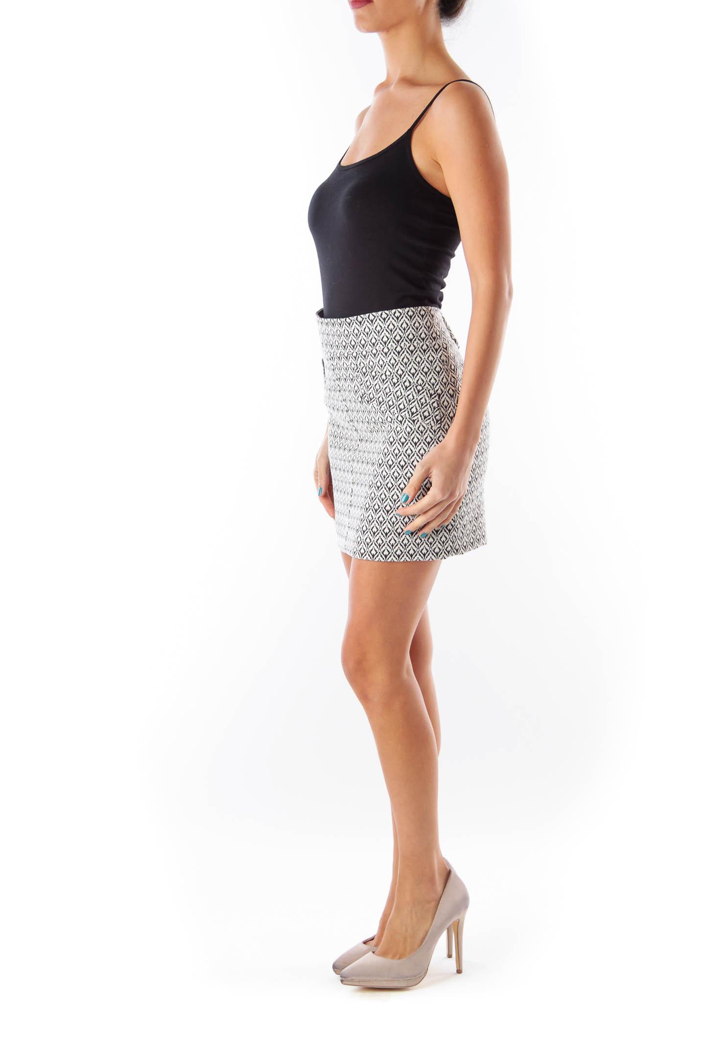 Black & White Print Mini Skirt