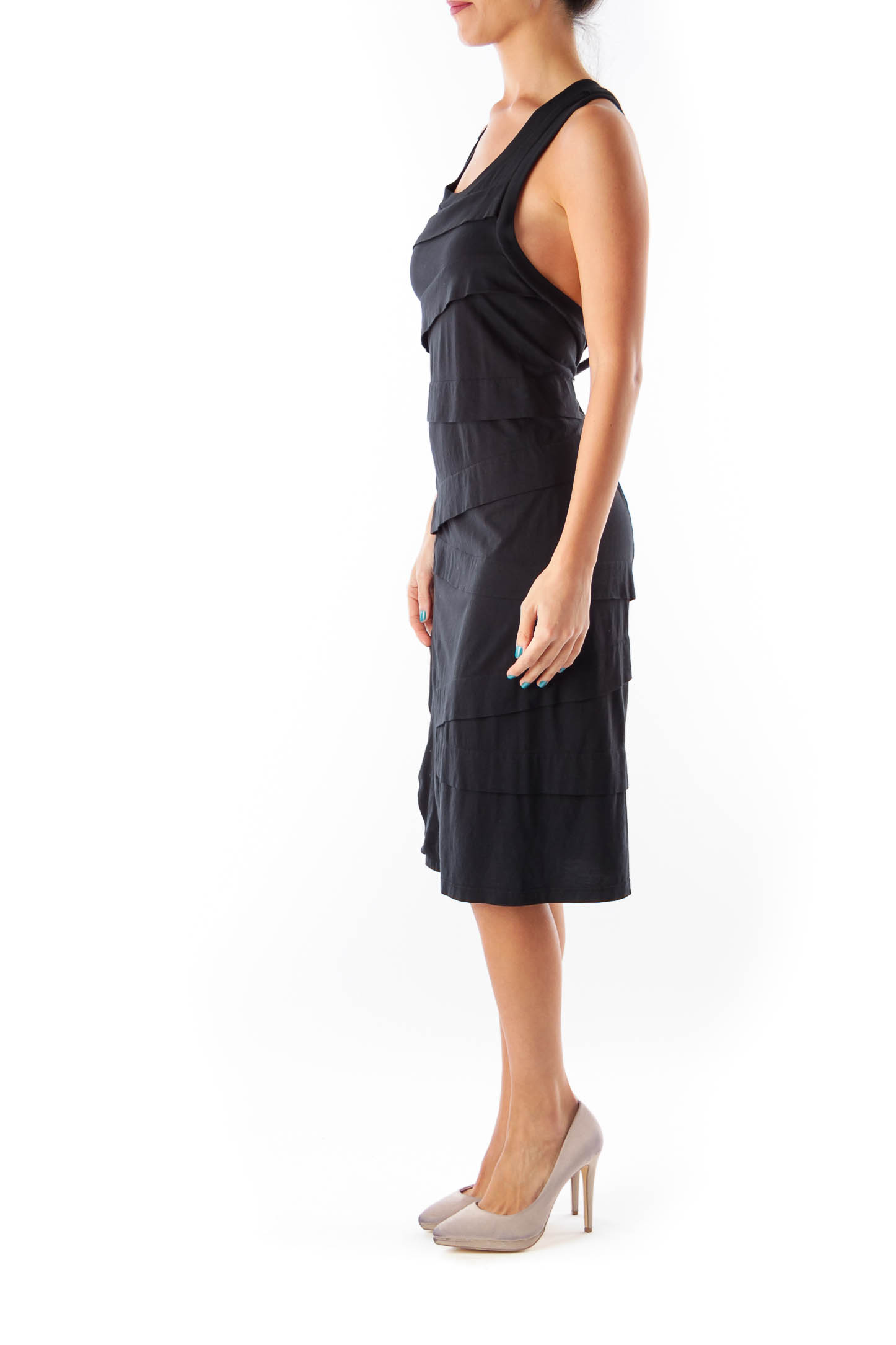 Black Layer Knee Length Dress