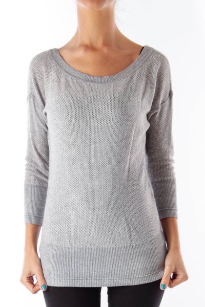 Gray Knit V Neck Shirt
