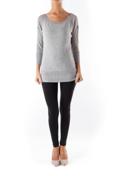 Gray Knit V Neck Shirt