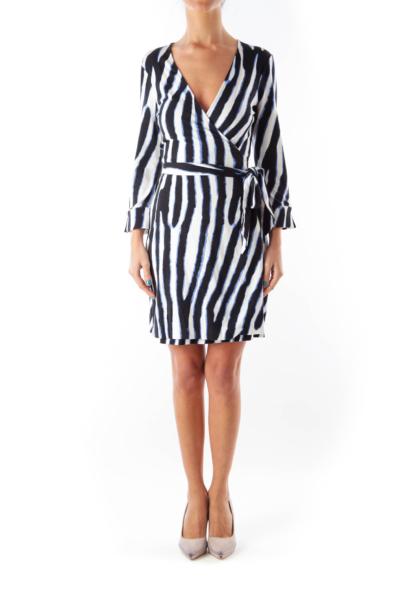 Blue & White Wrap Dress