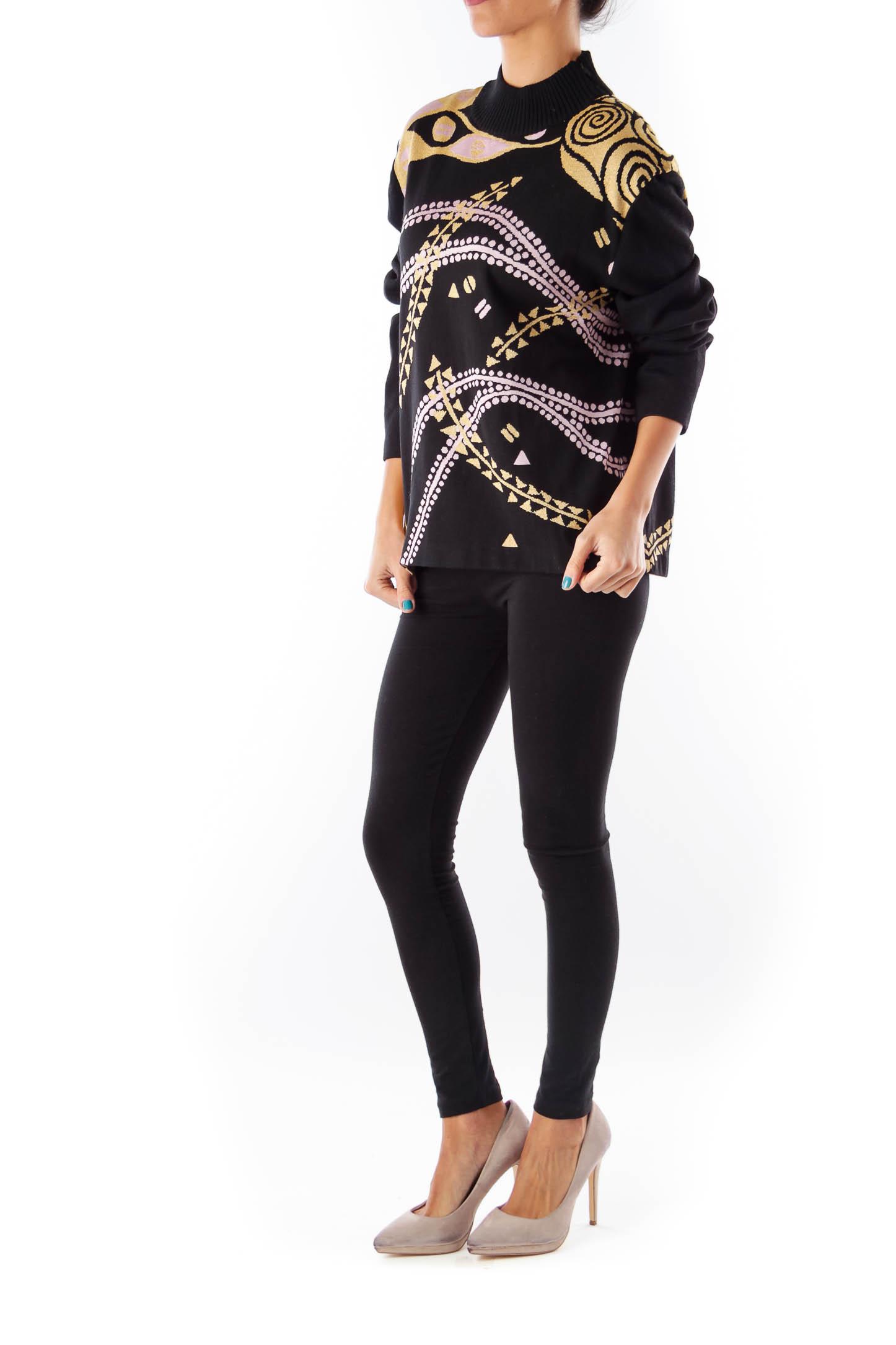 Black Pink Gold Sparkle Sweater