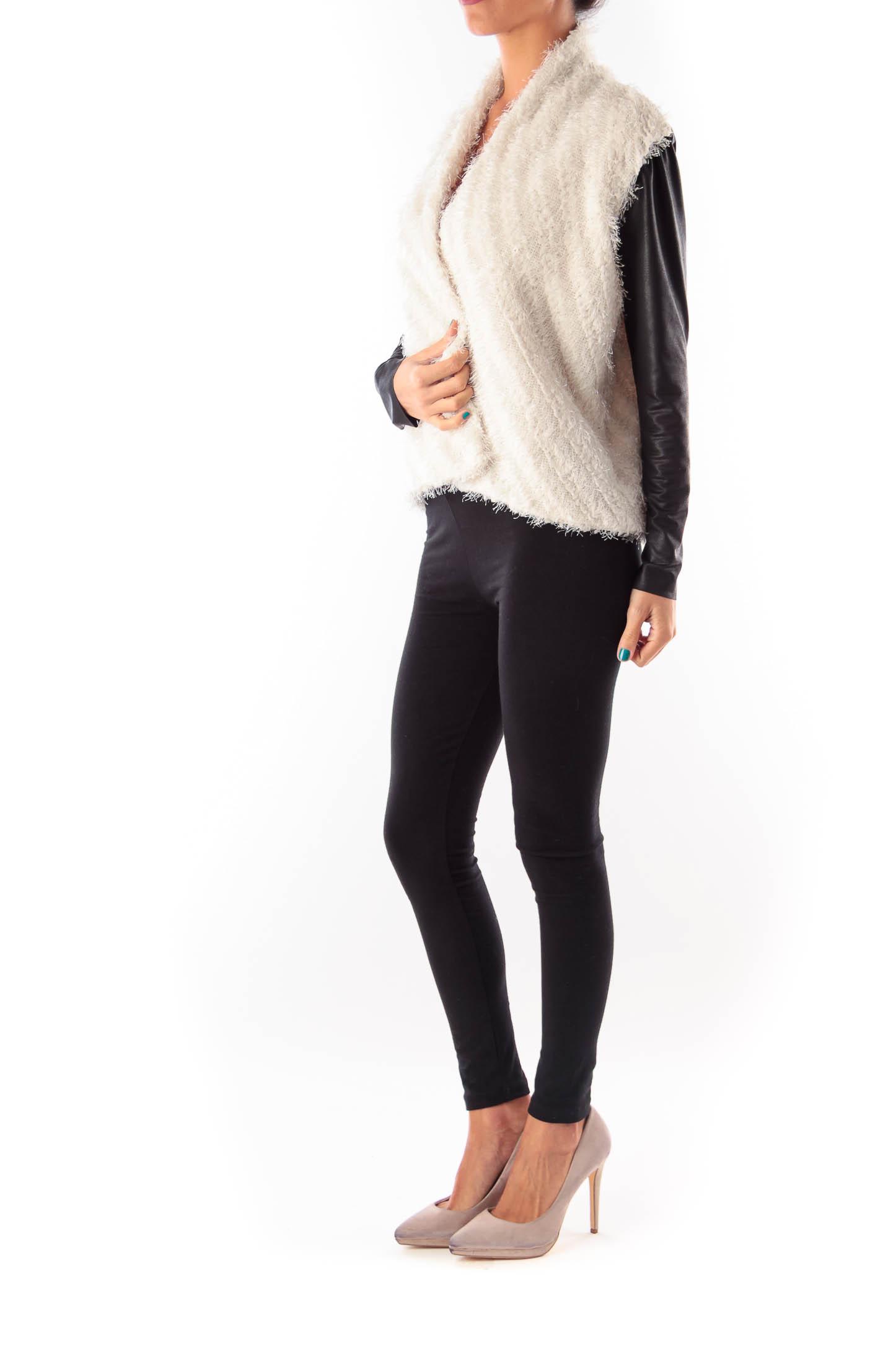 Beige & Black Sleeve Coat