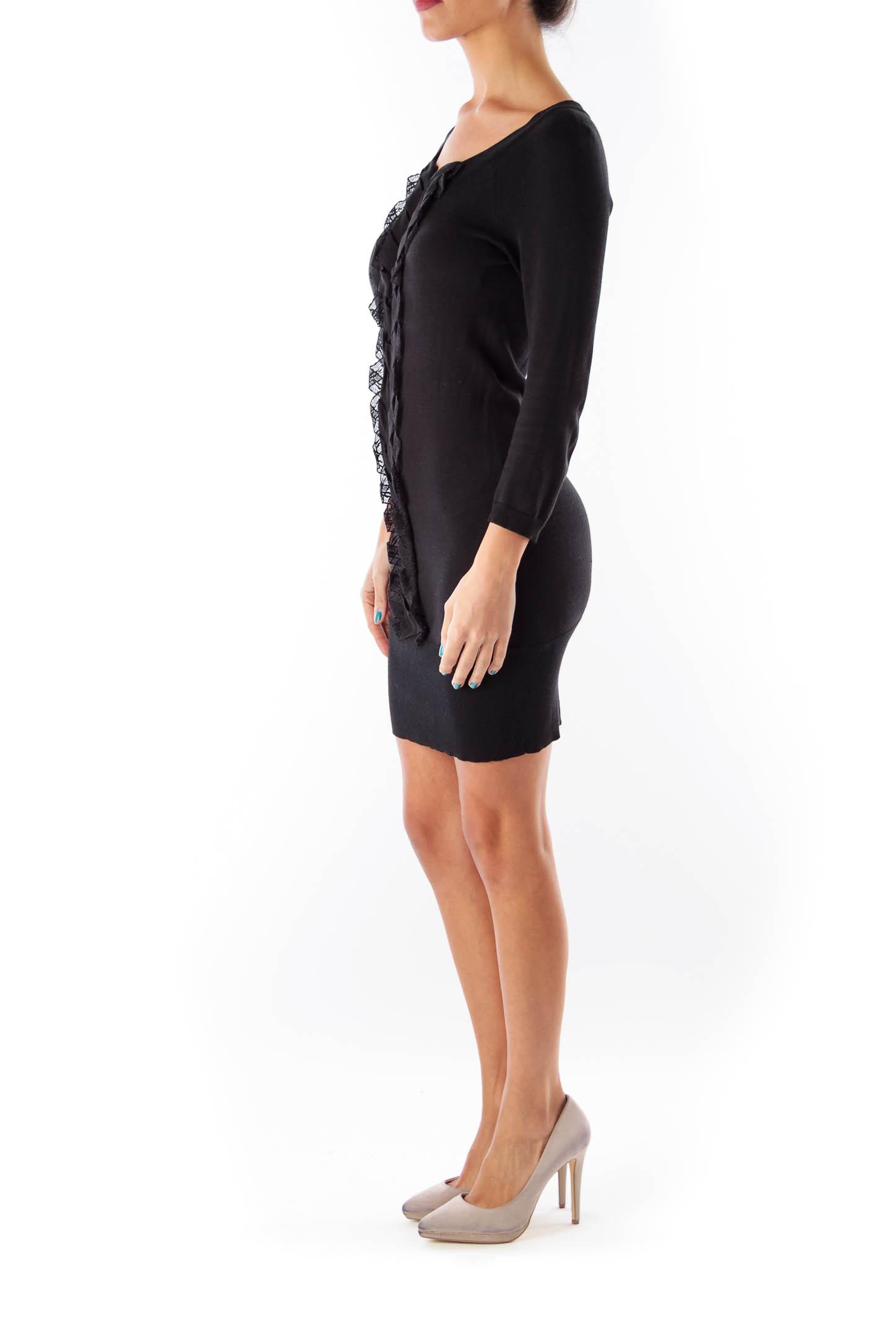 Black Ruffle Sweater Dress