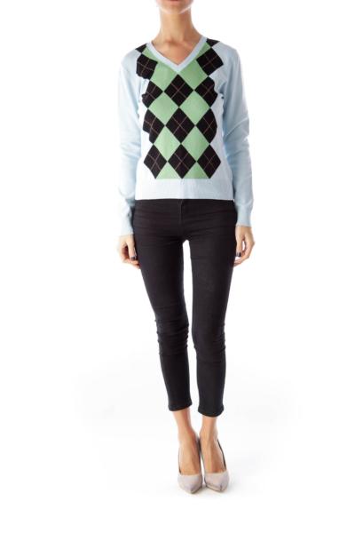 Light Blue Plaid Sweater