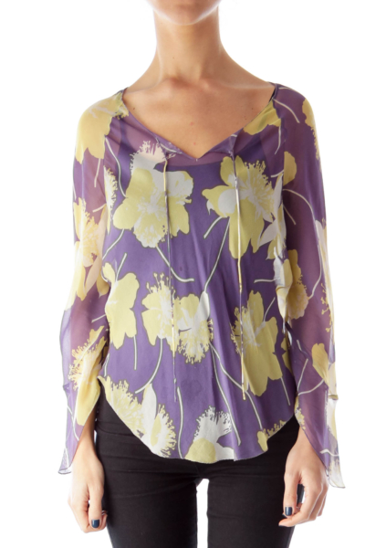 Purple & Yellow See Trough Blouse