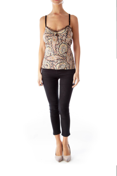 Paisley Print Cut Out Top