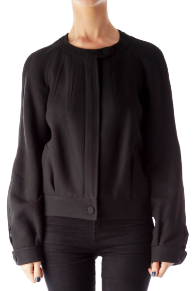 Black Ziper Bomber Jacket