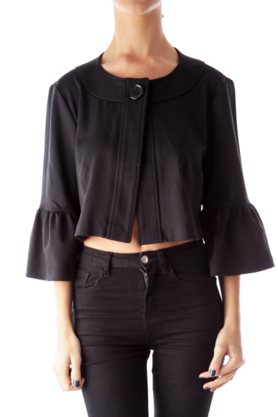 Black Bell Sleeve Crop Coat