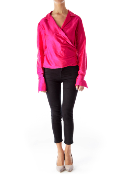 Pink Wrap Crop Blouse