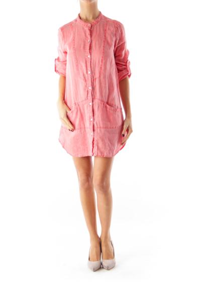 Coral Linen Shirt Dress