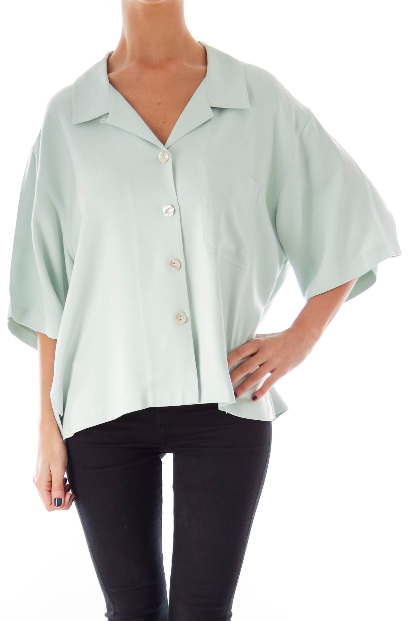 Pastel Blue Button Shirt