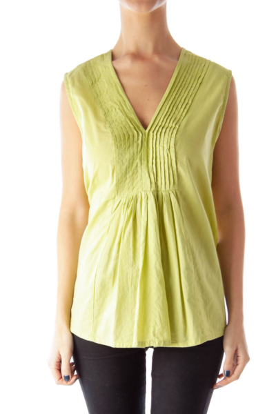 Green Draped Front Blouse