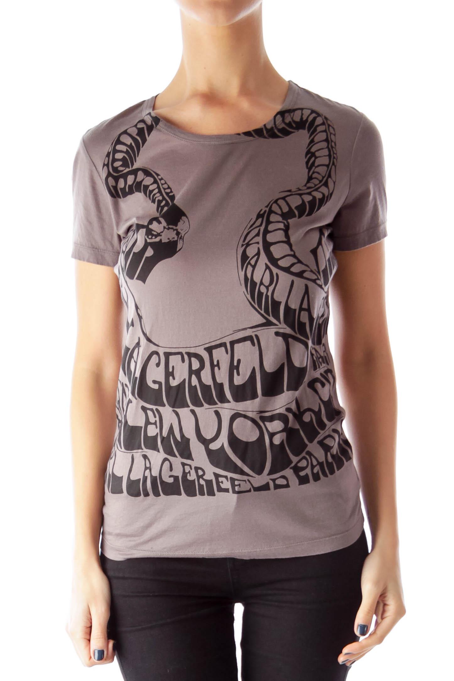Dark Gray Printed T-Shirt