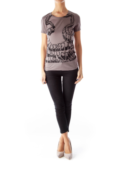 Dark Gray Printed T-Shirt