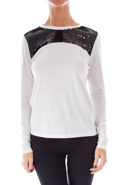 White & Black Sequin Shirt