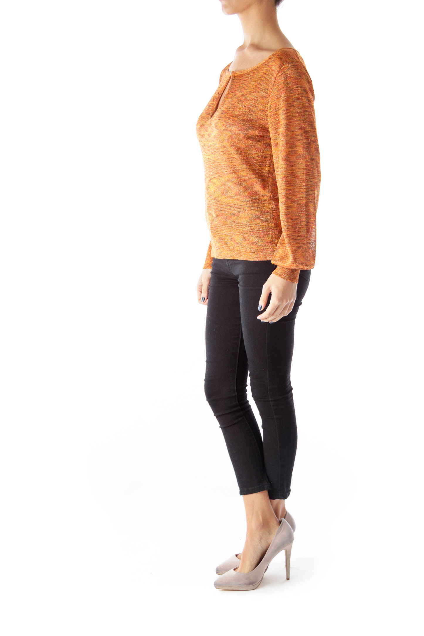 Orange Print Metallic Shirt