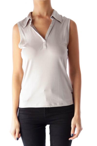Gray Collar V Neck Top