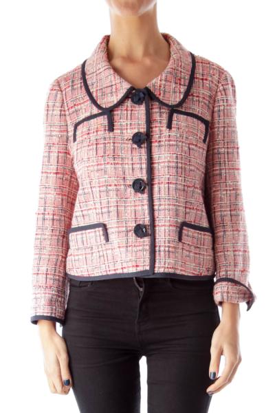 Red Plaid Tweed Jacket