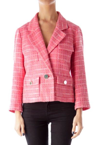 Pink Plaid Tweed Jacket