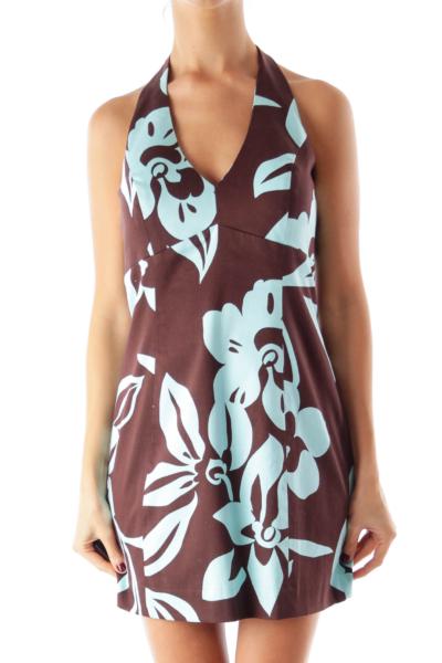 Brown & Blue Halter Dress