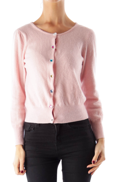 Pink Embellished Button Sweater