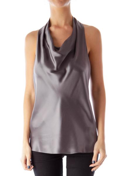 Gray Draped Silk Top