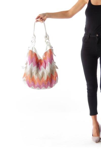 Color Chevron Shoulder Bag