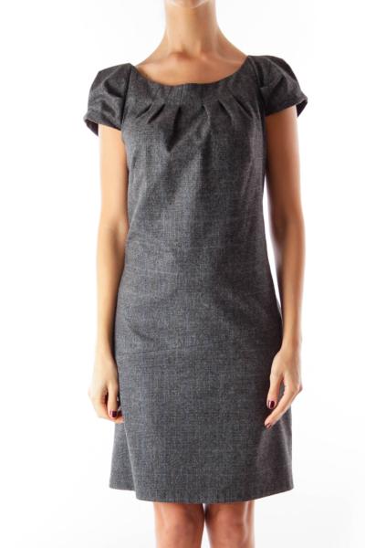 Dark Gray Plaid Dress