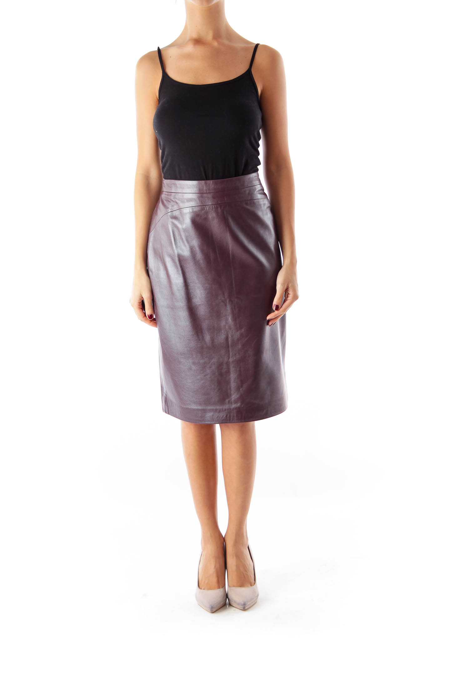 Burgundy Leather Skirt