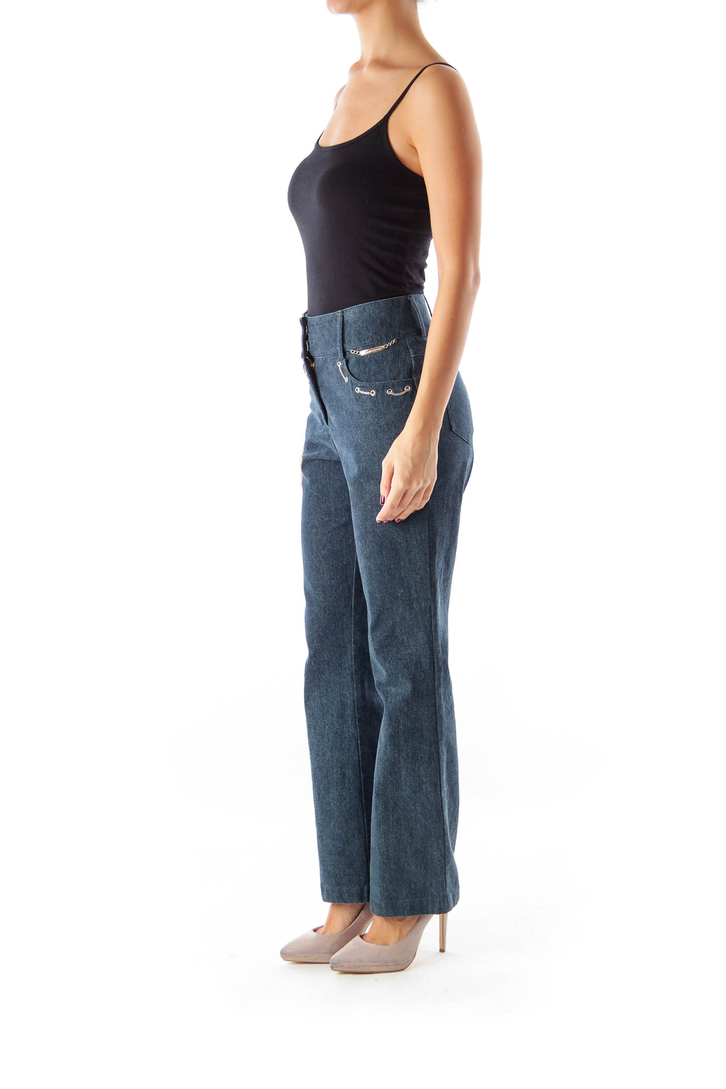 Blue Chain Flare Jeans