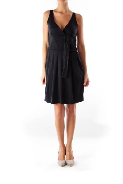 Black Wrap Knit Dress