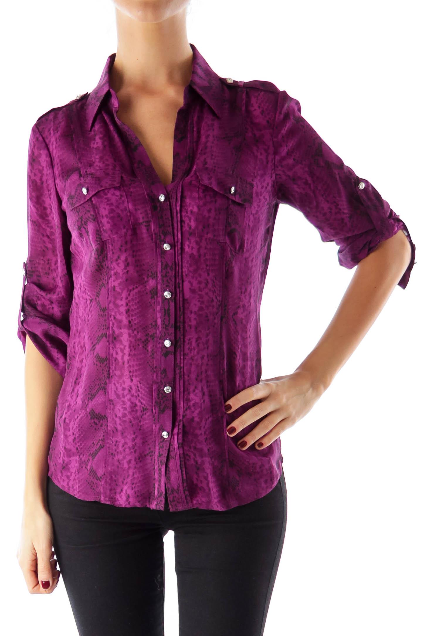 Purple Animal Print Blouse 0 Silkroll