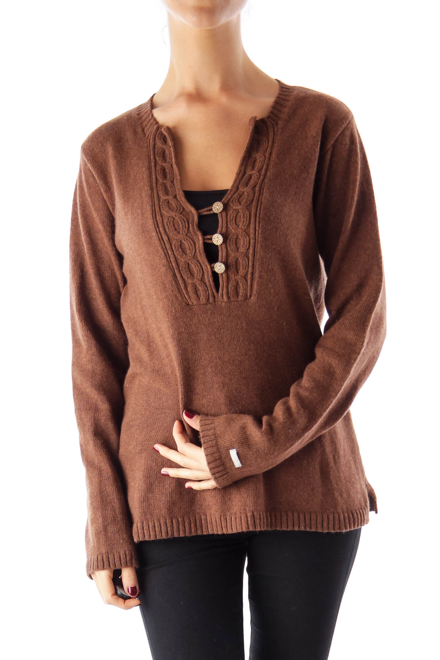Brown V Neck Sweater