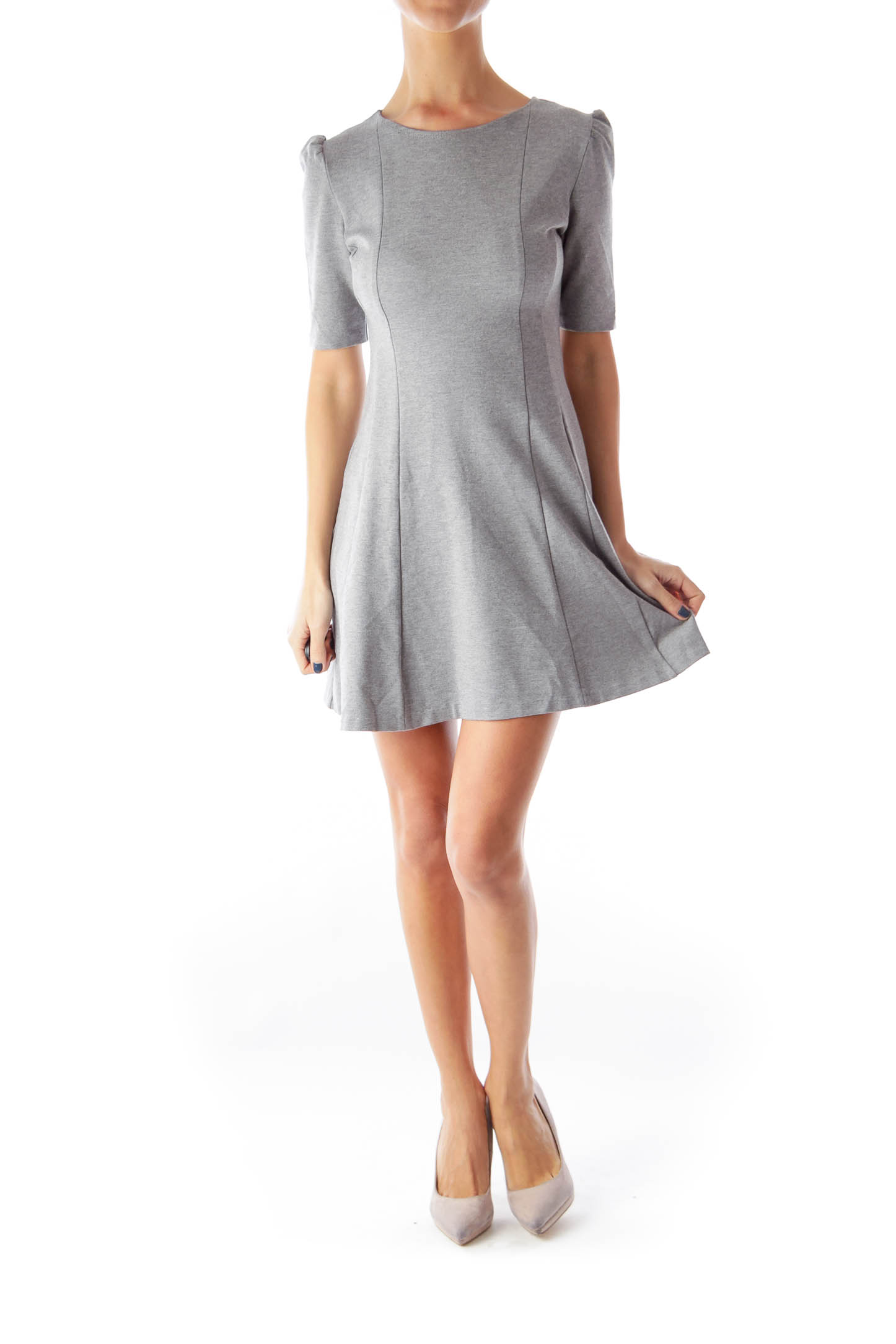 Gray short sleeve flared dress xs silkroll for Short flared wedding dress