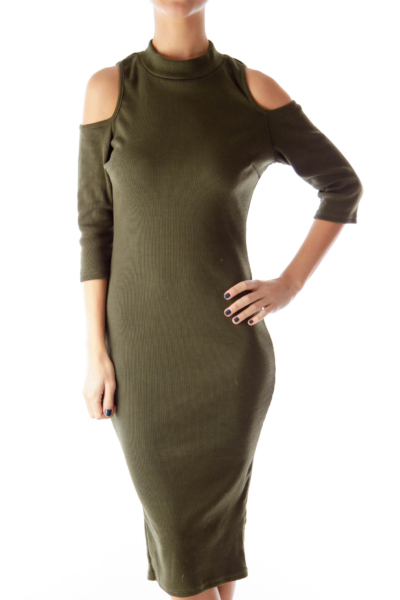 Olive Green Cold Shoulder Fitted Dress