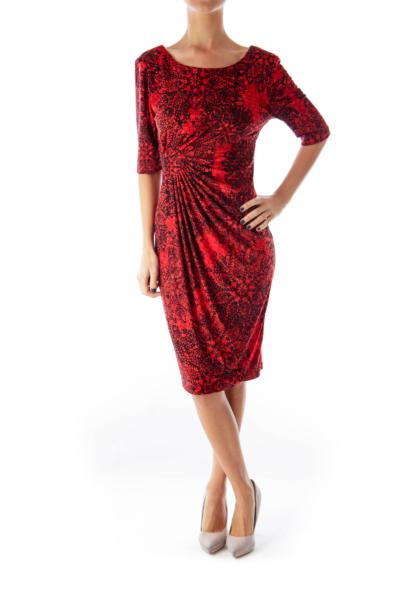 Black & Red Print Dress