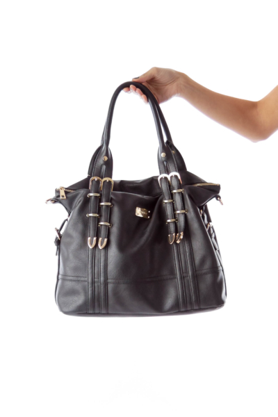 Black with Gold Trim Satchel