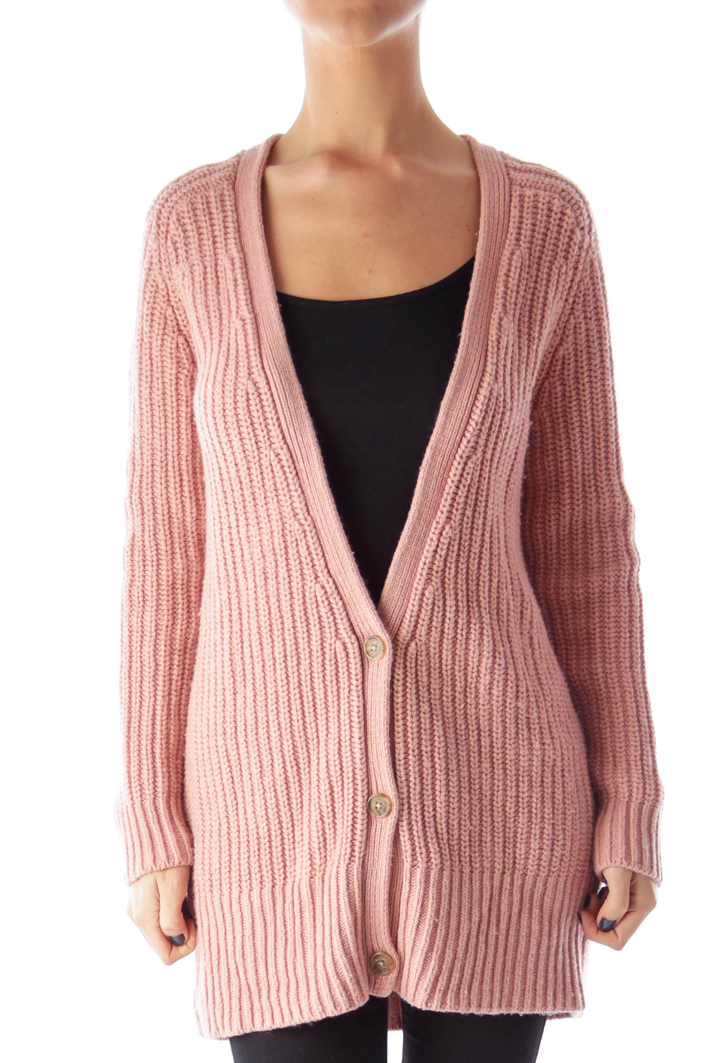 Pink Oversized Chunky Cardigan [S] - SilkRoll