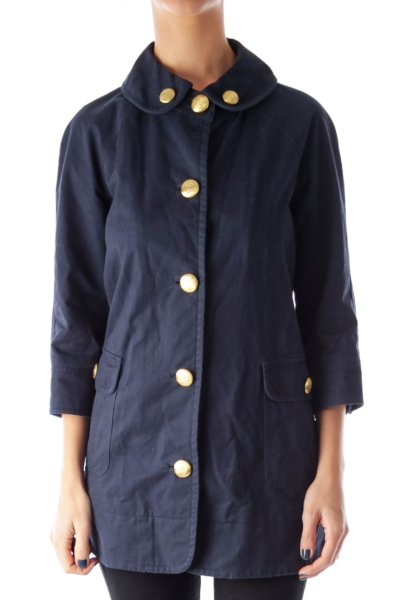 Navy Gold Button Down Mini Coat