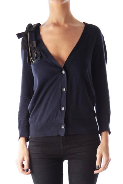 Navy Button Down Ribbon Detail Sweater
