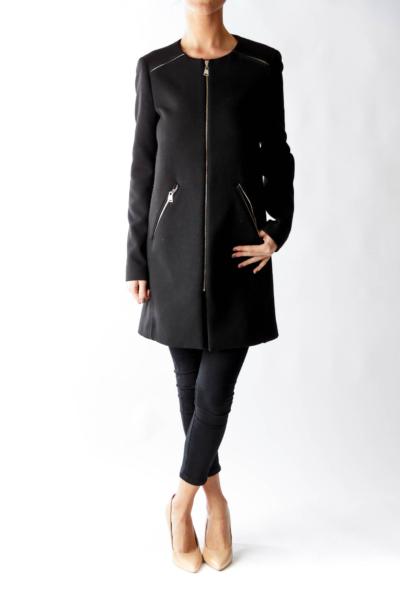 Black Zip Down Coat
